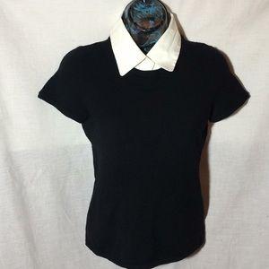 Theory Womens Short Sleeve Top sweater w/collar